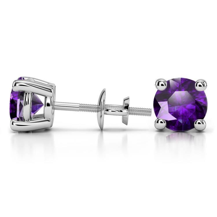 Amethyst Round Gemstone Stud Earrings in Platinum (8.1 mm) | 03