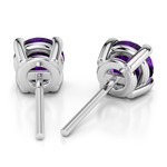 Amethyst Round Gemstone Stud Earrings in White Gold (8.1 mm) | Thumbnail 01