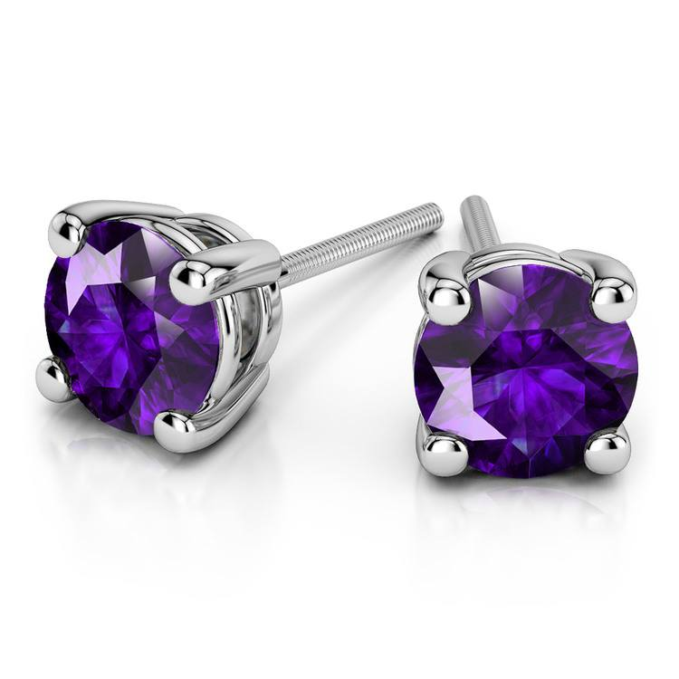 Amethyst Round Gemstone Stud Earrings in White Gold (8.1 mm) | 01