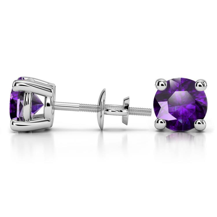 Amethyst Round Gemstone Stud Earrings in White Gold (8.1 mm) | 03