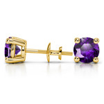 Amethyst Round Gemstone Stud Earrings in Yellow Gold (8.1 mm) | Thumbnail 01