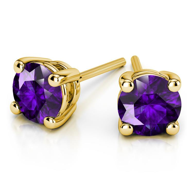 Amethyst Round Gemstone Stud Earrings in Yellow Gold (8.1 mm) | 01