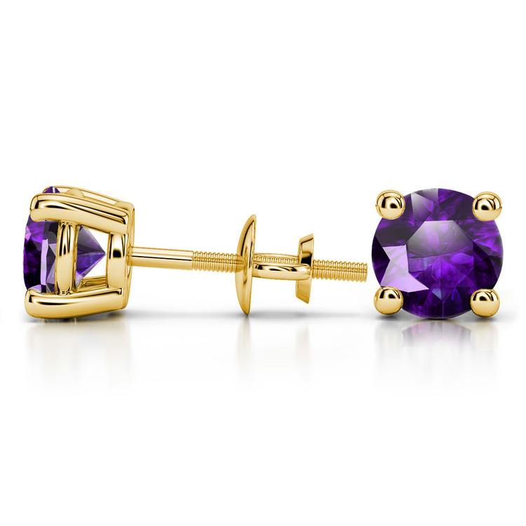 Amethyst Round Gemstone Stud Earrings in Yellow Gold (8.1 mm) | 03