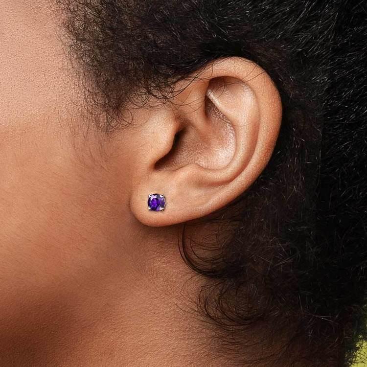 Amethyst Round Gemstone Single Stud Earring In White Gold (4.1 mm)   04