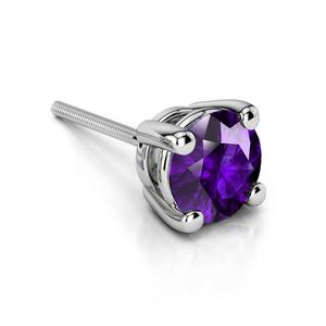 Amethyst Round Gemstone Single Stud Earring In White Gold (6.4 mm)