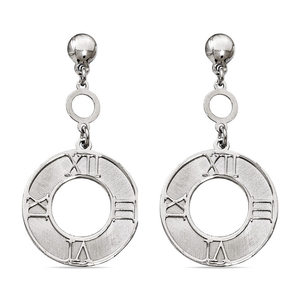 Antique Sundial Coin Dangle Earrings in Silver