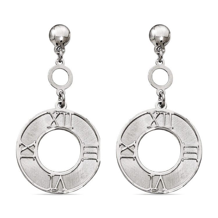 Antique Sundial Coin Dangle Earrings in Silver | 01