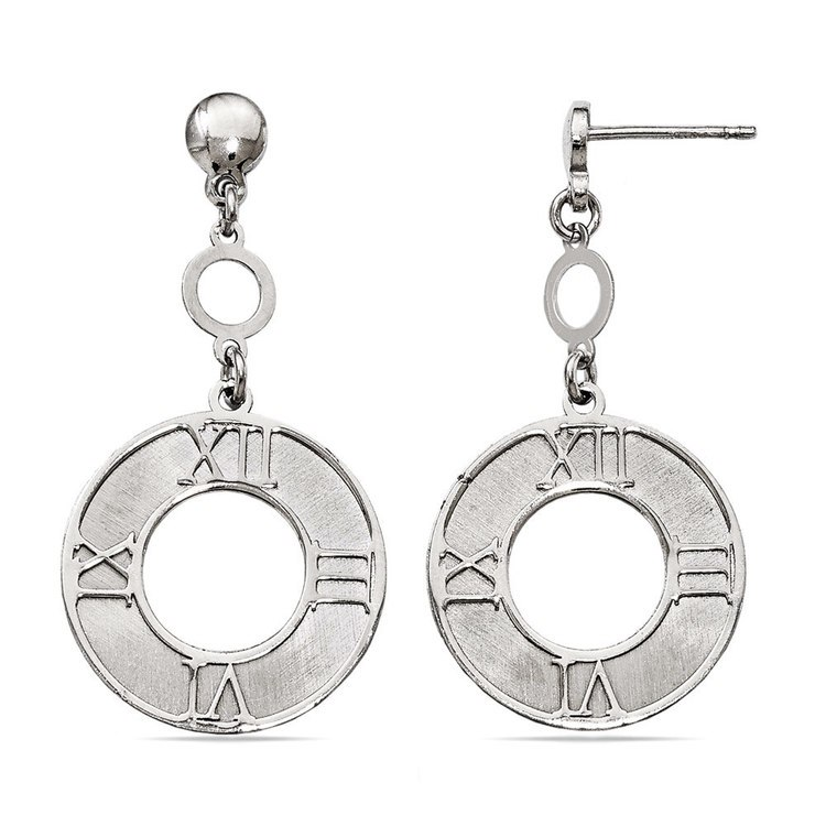 Antique Sundial Coin Dangle Earrings in Silver | 02