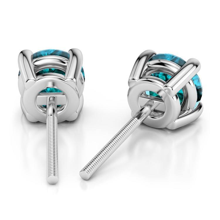 Aquamarine Round Gemstone Stud Earrings in Platinum (3.2 mm) | 02