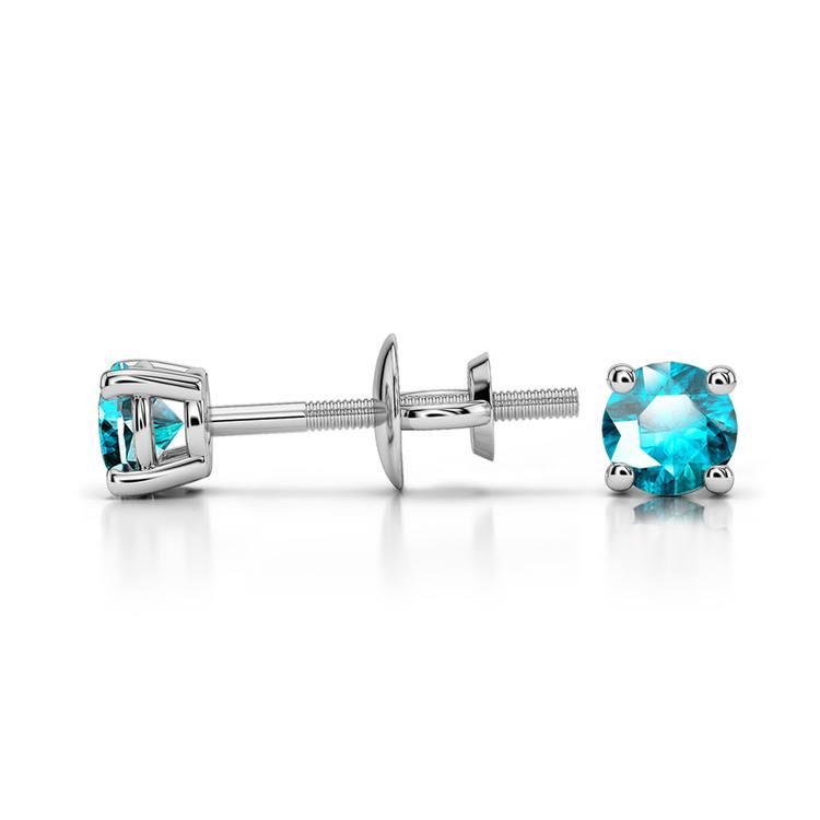 Aquamarine Round Gemstone Stud Earrings in Platinum (3.2 mm) | 03