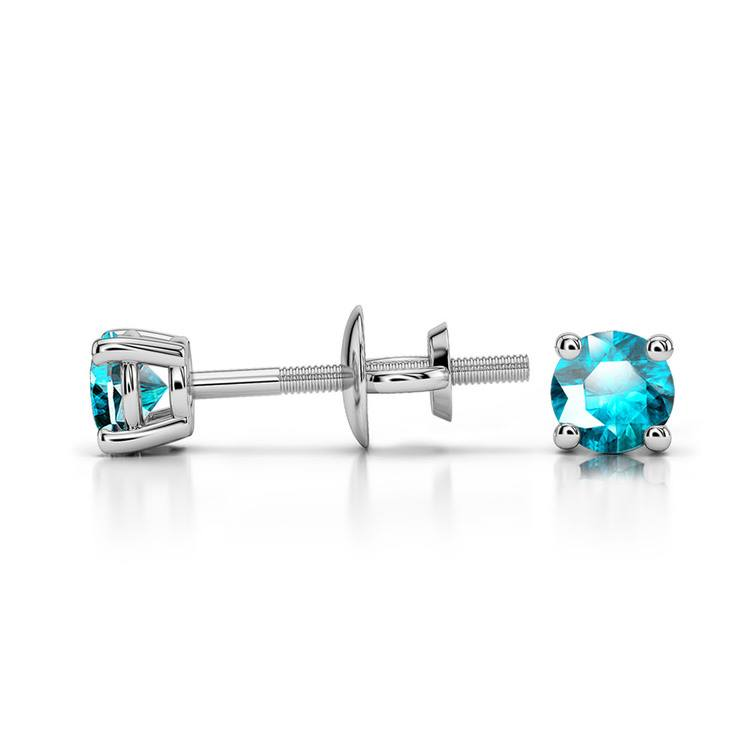 Aquamarine Round Gemstone Stud Earrings in White Gold (3.2 mm) | 03