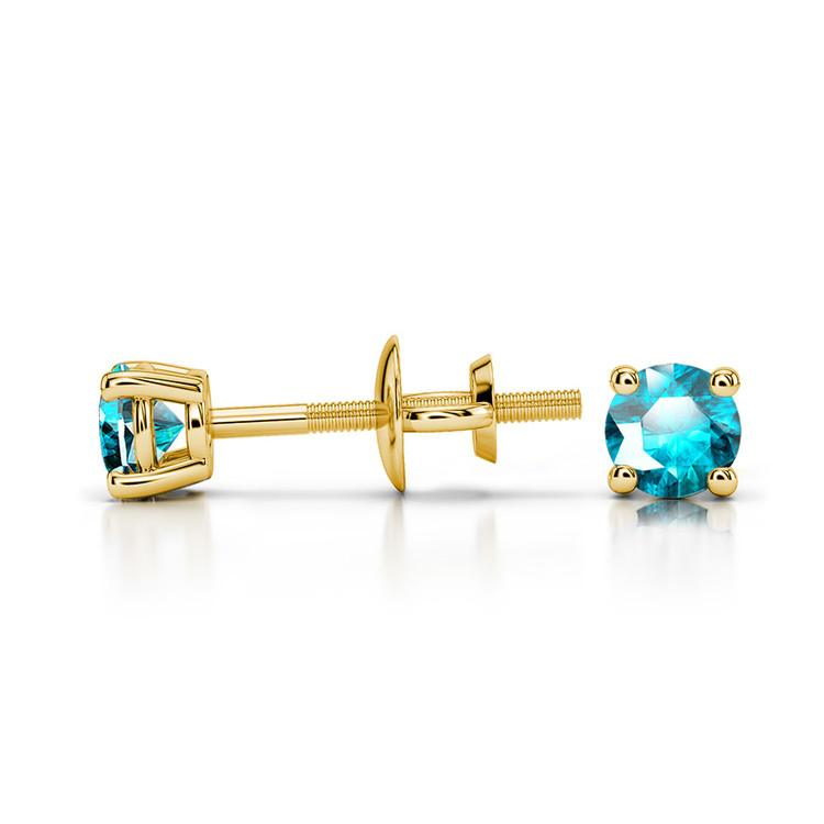 Aquamarine Round Gemstone Stud Earrings in Yellow Gold (3.2 mm) | 03