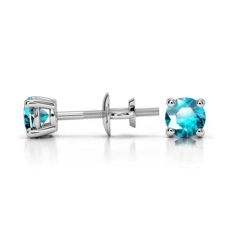 Aquamarine Round Gemstone Stud Earrings in Platinum (3.4 mm) | 03