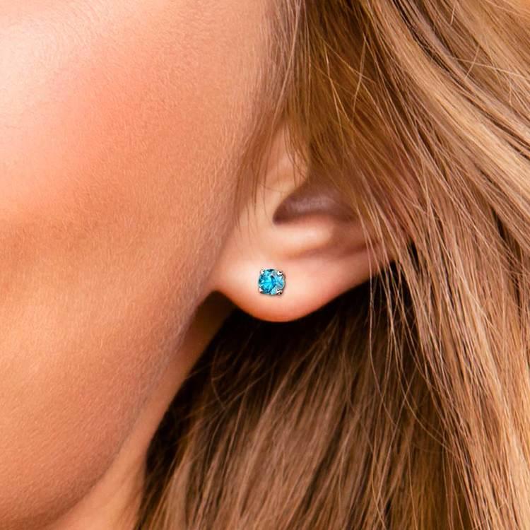 Aquamarine Round Gemstone Stud Earrings in White Gold (3.4 mm) | 04