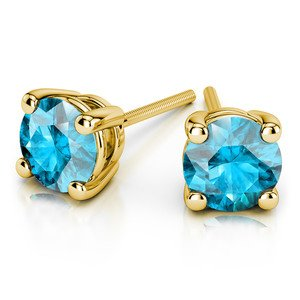 Aquamarine Round Gemstone Stud Earrings in Yellow Gold (3.4 mm)