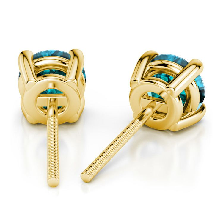 Aquamarine Round Gemstone Stud Earrings in Yellow Gold (3.4 mm) | 02