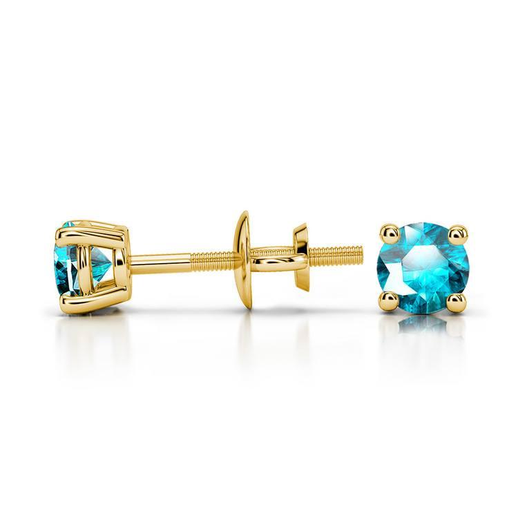 Aquamarine Round Gemstone Stud Earrings in Yellow Gold (3.4 mm) | 03