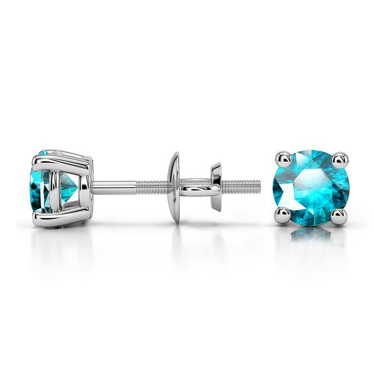 Aquamarine Round Gemstone Stud Earrings in Platinum (4.1 mm) | 03