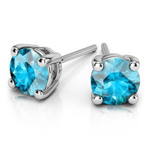 Aquamarine Round Gemstone Stud Earrings in White Gold (4.1 mm)