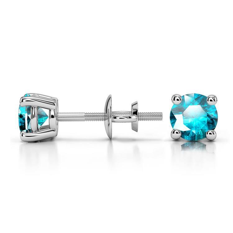 Aquamarine Round Gemstone Stud Earrings in White Gold (4.1 mm) | 03