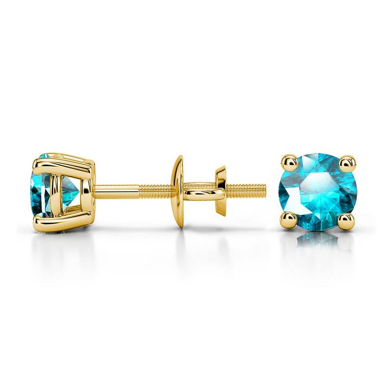 Aquamarine Round Gemstone Stud Earrings in Yellow Gold (4.1 mm) | 03