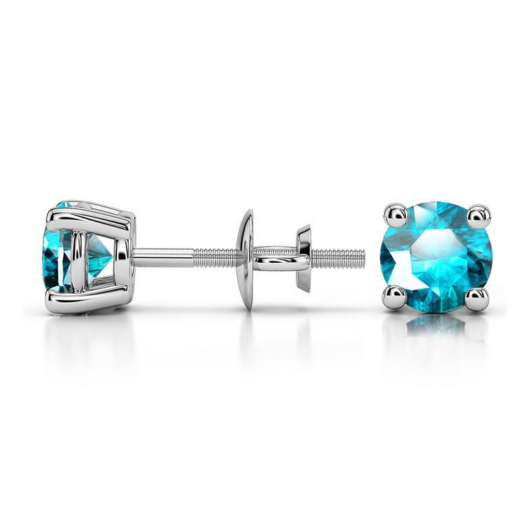 Aquamarine Round Gemstone Stud Earrings in Platinum (4.5 mm) | 03