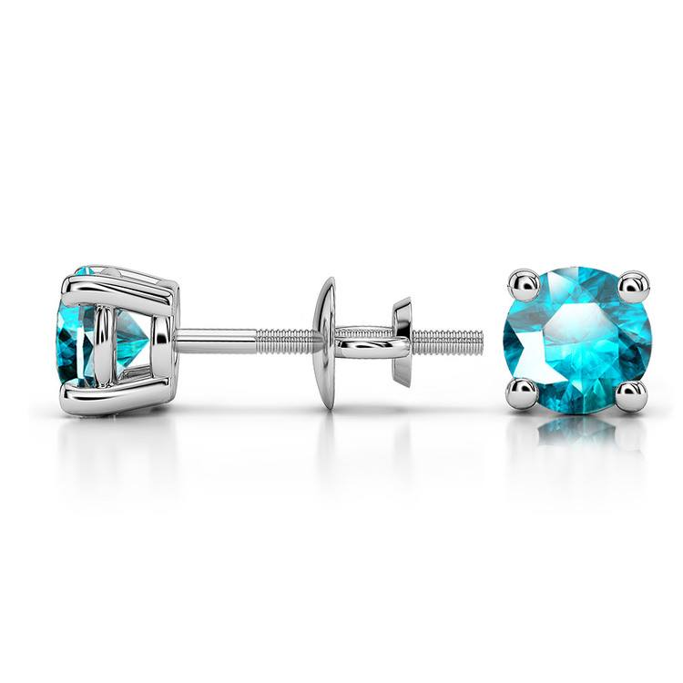 Aquamarine Round Gemstone Stud Earrings in White Gold (4.5 mm) | 03