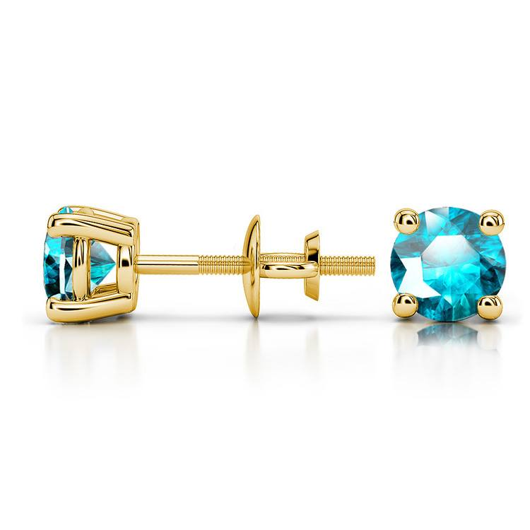 Aquamarine Round Gemstone Stud Earrings in Yellow Gold (4.5 mm) | 03