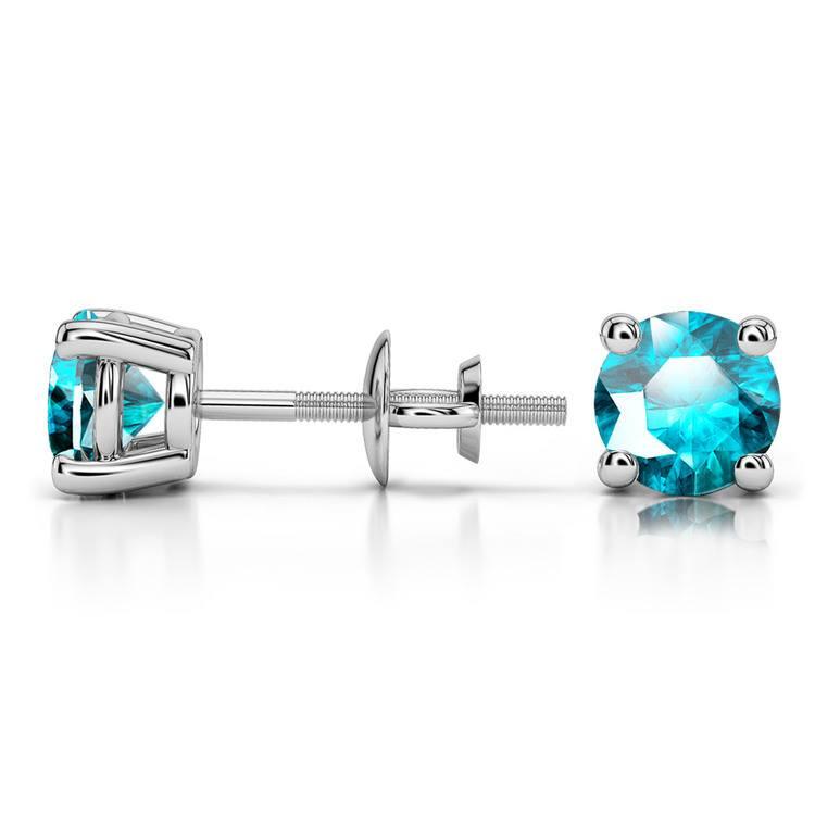 Aquamarine Round Gemstone Stud Earrings in White Gold (5.1 mm) | 03