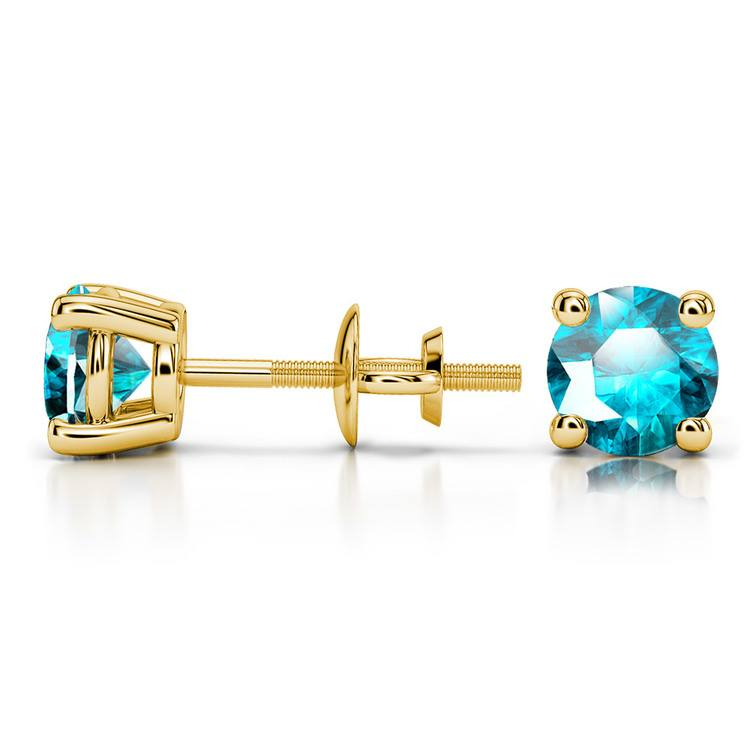 Aquamarine Round Gemstone Stud Earrings in Yellow Gold (5.1 mm) | 03