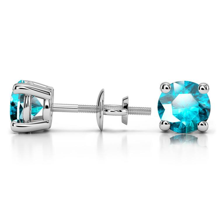 Aquamarine Round Gemstone Stud Earrings in Platinum (5.9 mm) | 03