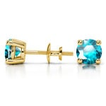Aquamarine Round Gemstone Stud Earrings in Yellow Gold (5.9 mm) | Thumbnail 01