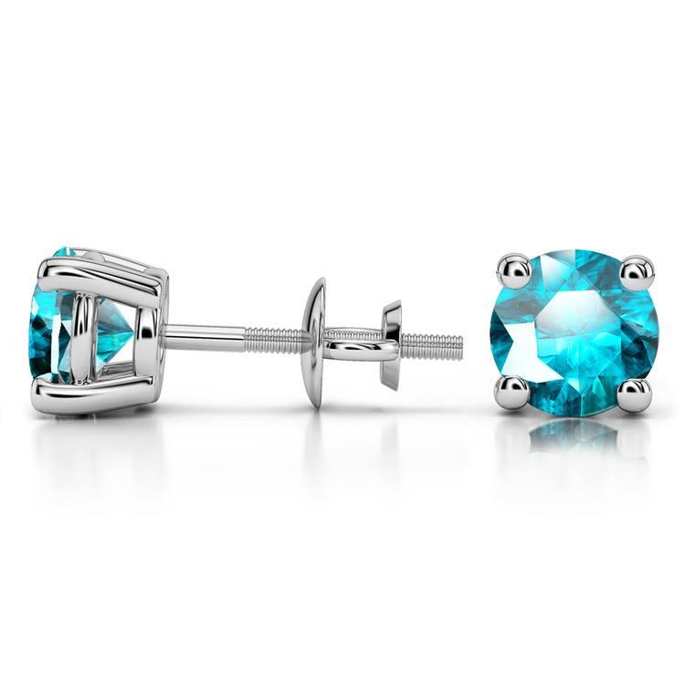 Aquamarine Round Gemstone Stud Earrings in White Gold (6.4 mm) | 03
