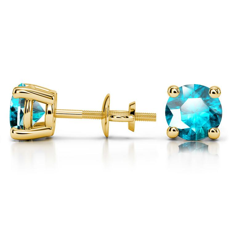 Aquamarine Round Gemstone Stud Earrings in Yellow Gold (6.4 mm) | 03