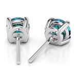 Aquamarine Round Gemstone Stud Earrings in Platinum (7.5 mm) | Thumbnail 01