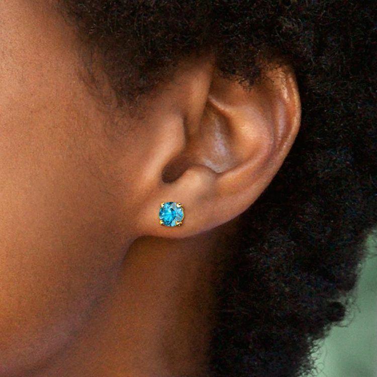 Aquamarine Round Gemstone Stud Earrings in Yellow Gold (7.5 mm) | 04