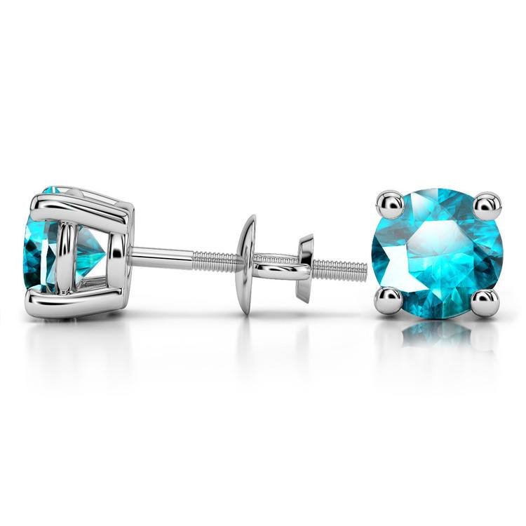 Aquamarine Round Gemstone Stud Earrings in White Gold (8.1 mm) | 03