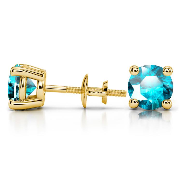 Aquamarine Round Gemstone Stud Earrings in Yellow Gold (8.1 mm) | 03