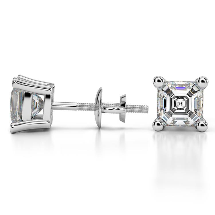 Asscher Diamond Stud Earrings in Platinum (2 ctw) | 03