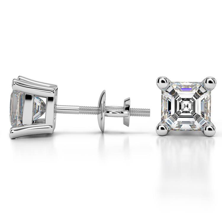 Asscher Diamond Stud Earrings in Platinum (3 ctw) | 03