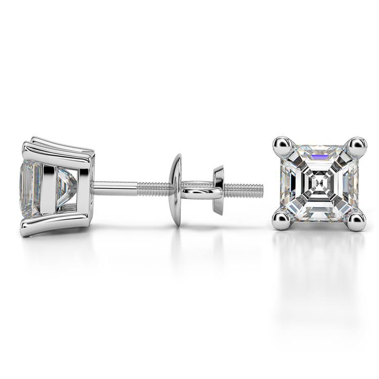 Asscher Diamond Stud Earrings in White Gold (1 1/2 ctw) | 03