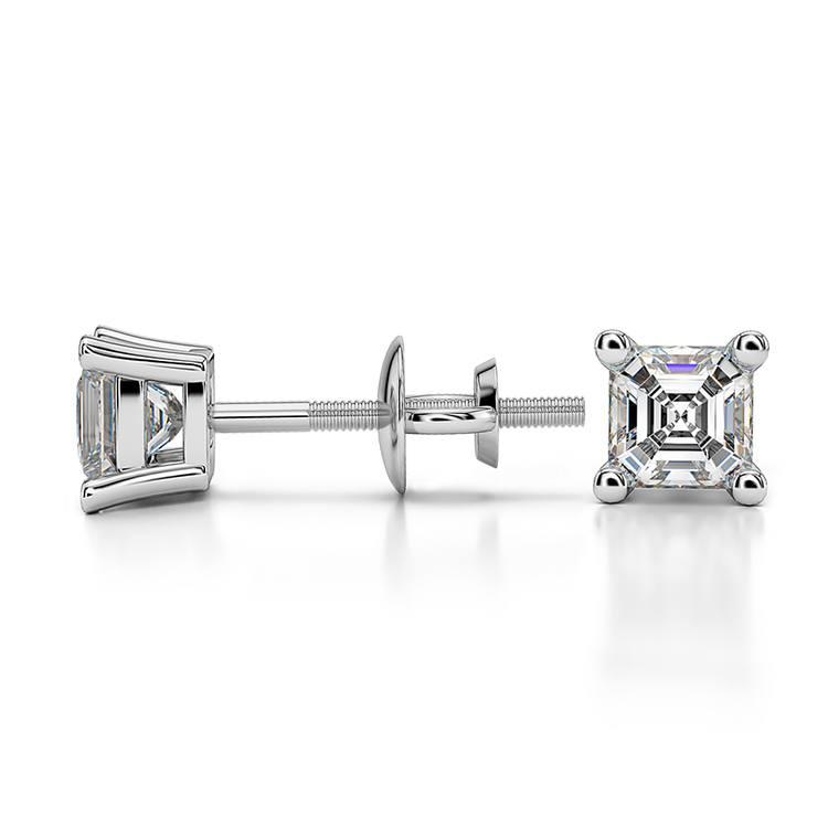 Asscher Diamond Stud Earrings in White Gold (1/2 ctw) | 03
