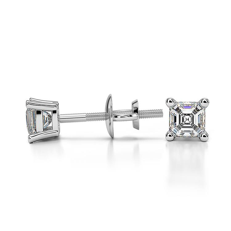 Asscher Diamond Stud Earrings in White Gold (1/4 ctw) | 03
