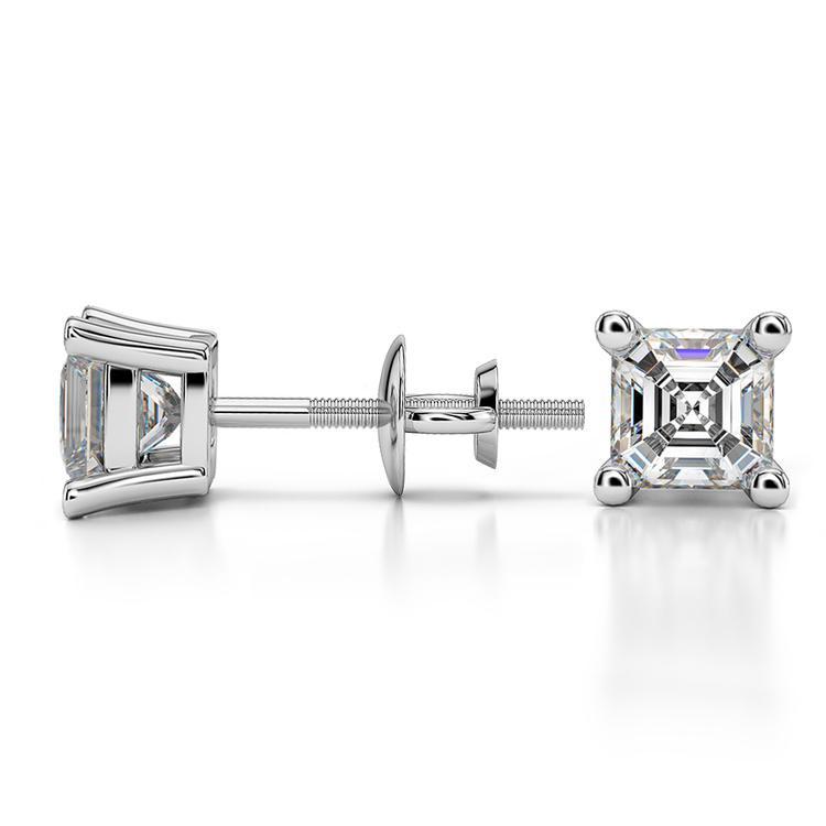 Asscher Diamond Stud Earrings in White Gold (1 ctw) | 03