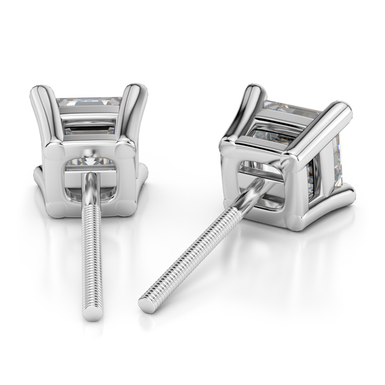 Asscher Diamond Stud Earrings in White Gold (3/4 ctw) | 02
