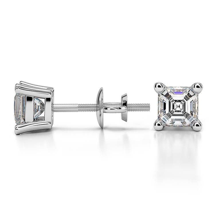 Asscher Diamond Stud Earrings in White Gold (3/4 ctw) | 03