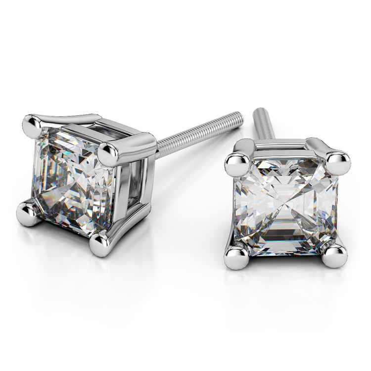 Asscher Diamond Stud Earrings in White Gold (3 ctw) | 01