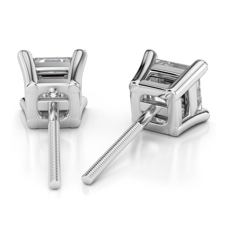 Asscher Diamond Stud Earrings in White Gold (3 ctw) | 02
