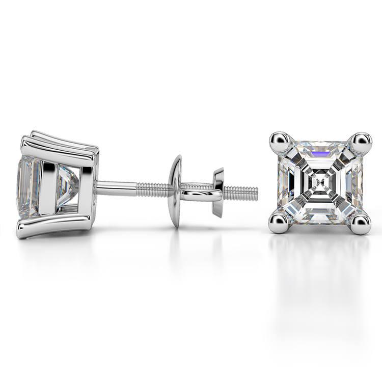 Asscher Diamond Stud Earrings in White Gold (3 ctw) | 03