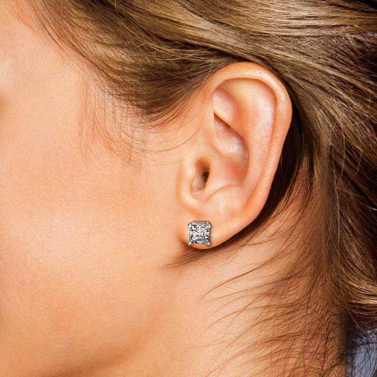 Asscher Diamond Stud Earrings in White Gold (3 ctw)   04